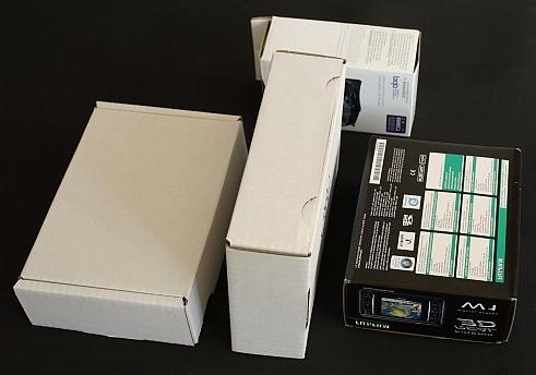 3D Testszene mit vier Kartons